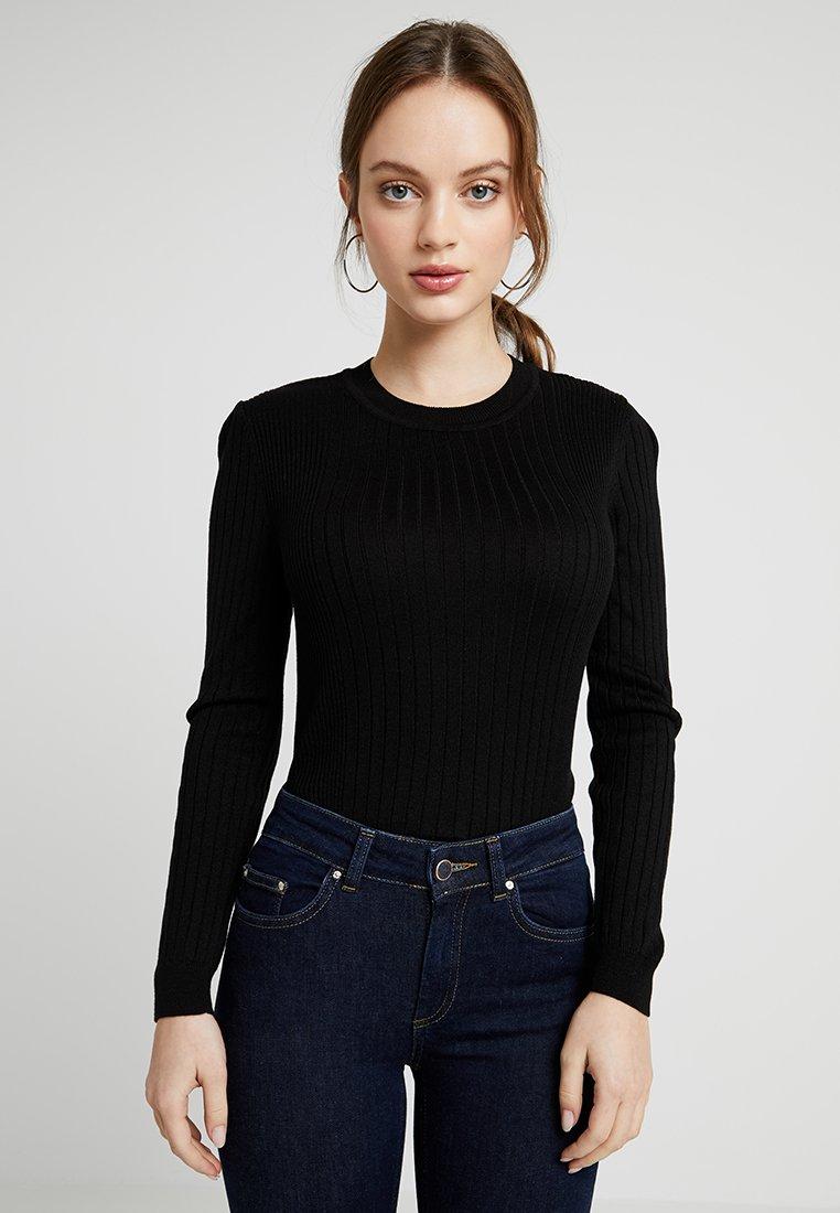 New Look Petite - CREW VARIAGATED - Long sleeved top - black