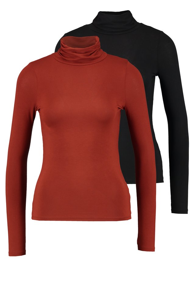 ROLL NECK 2 PACK - Top s dlouhým rukávem - black/chocolate