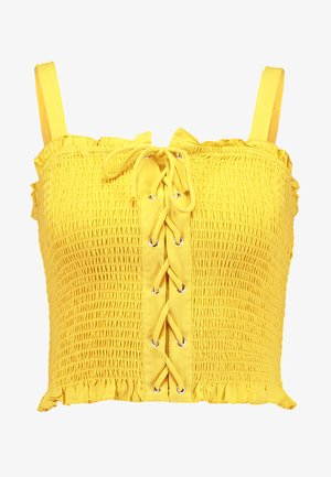 BIANCA SHIRRED TIE FRONT CAMI - Top - bright yellow