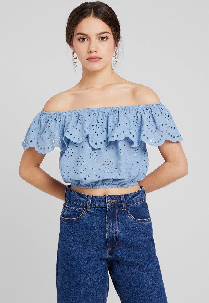 New Look Petite - NELLY CUTWORK CROP BARDOT - Blouse - blue