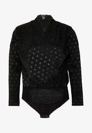 SPOT SATIN WRAP - Blouse - black
