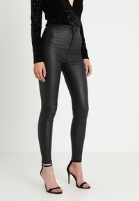 Noisy May - NMELLA SUPER COATED PANTS  - Broek - black - 0