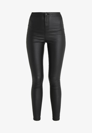 NMELLA SUPER COATED PANTS  - Pantalones - black