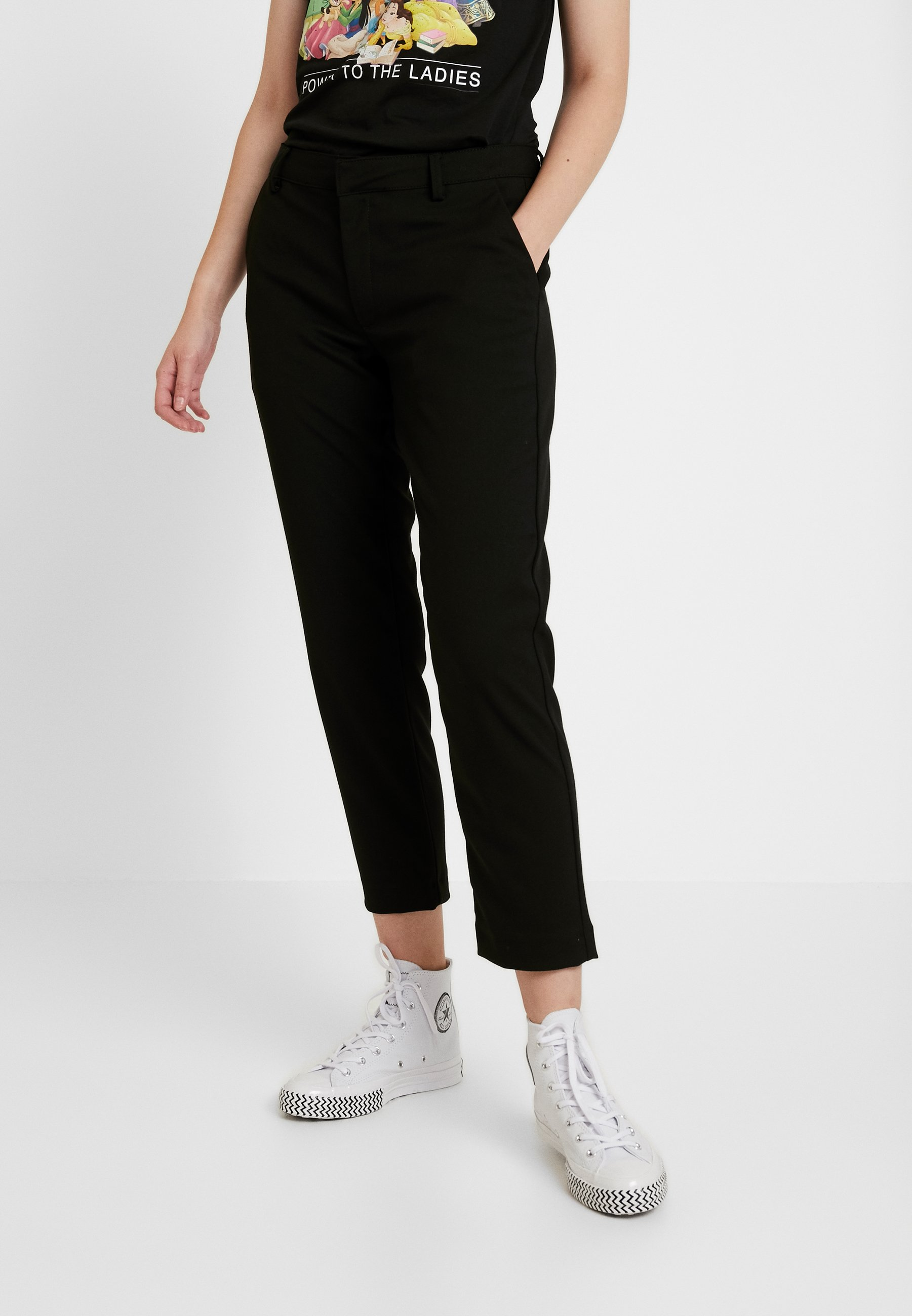 Noisy May NMLISE ANKLE PANTS - Spodnie materiałowe - black