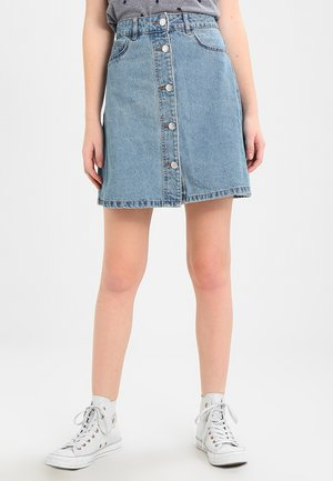 NMSUNNY SHORT SKATER SKIRT - A-line skjørt - light blue denim
