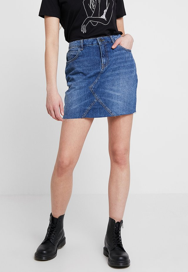 NMAYLA SHORT SKIRT - Spódnica mini - medium blue denim