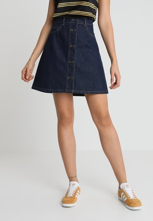NMSUNNY SKATER SKIRT - Jupe trapèze - dark blue denim