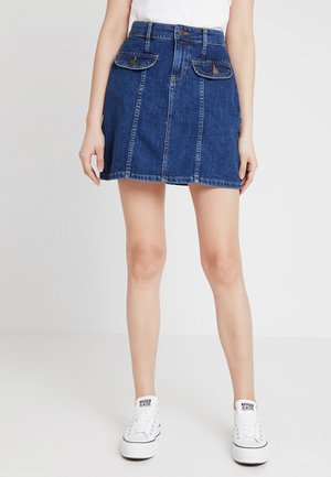 NMSONJA SHORT SKIRT - Falda de tubo - dark blue denim