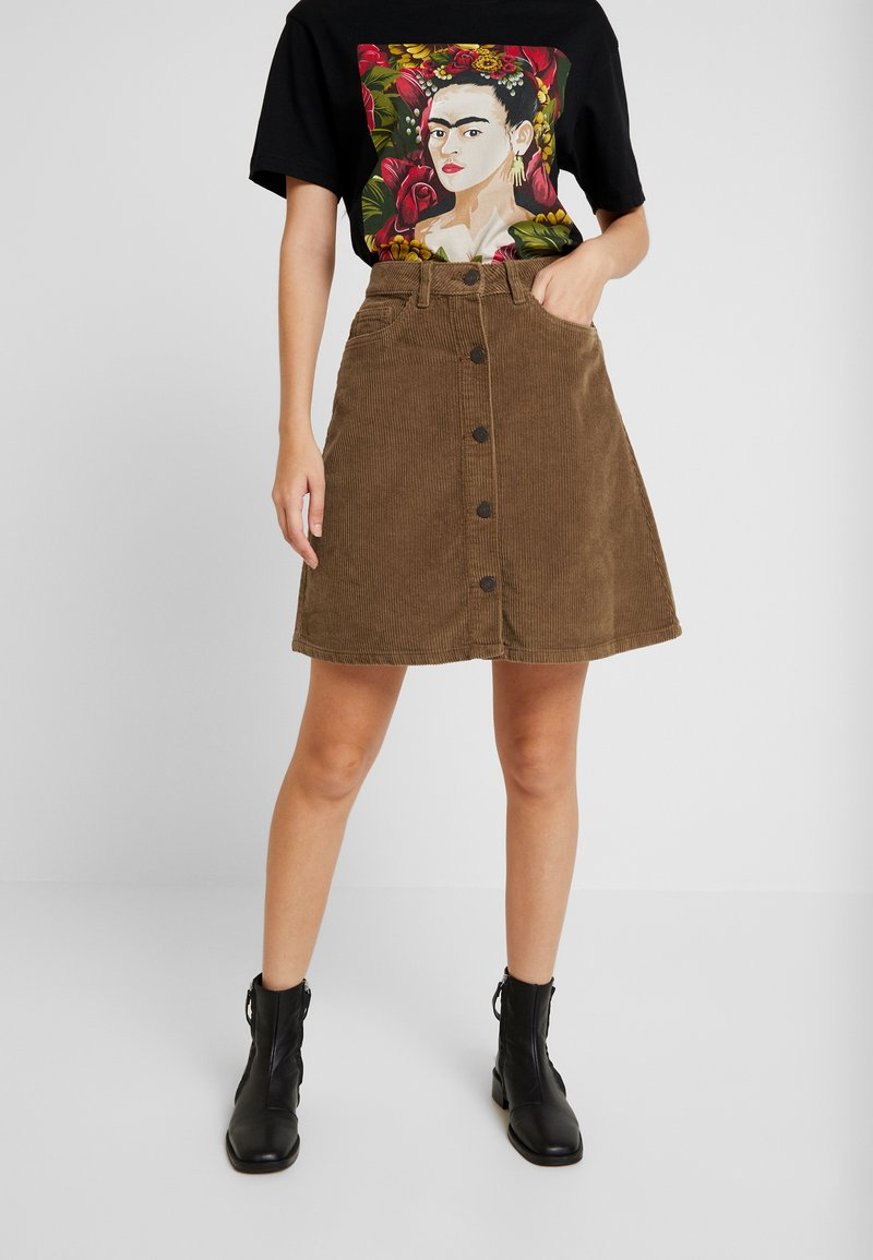 Noisy May - NMSUNNY WIDE  SKIRT - A-lijn rok - tobacco brown
