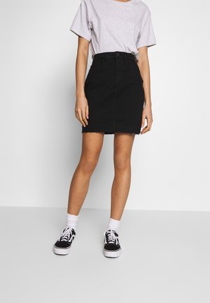 CALLIE SHORT SKIRT - Falda vaquera - black