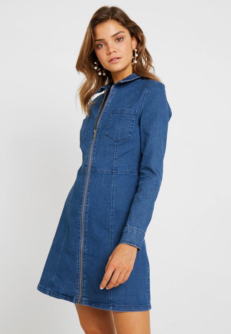 Noisy May - NMLISA ZIP DRESS  - Denim dress - medium blue denim