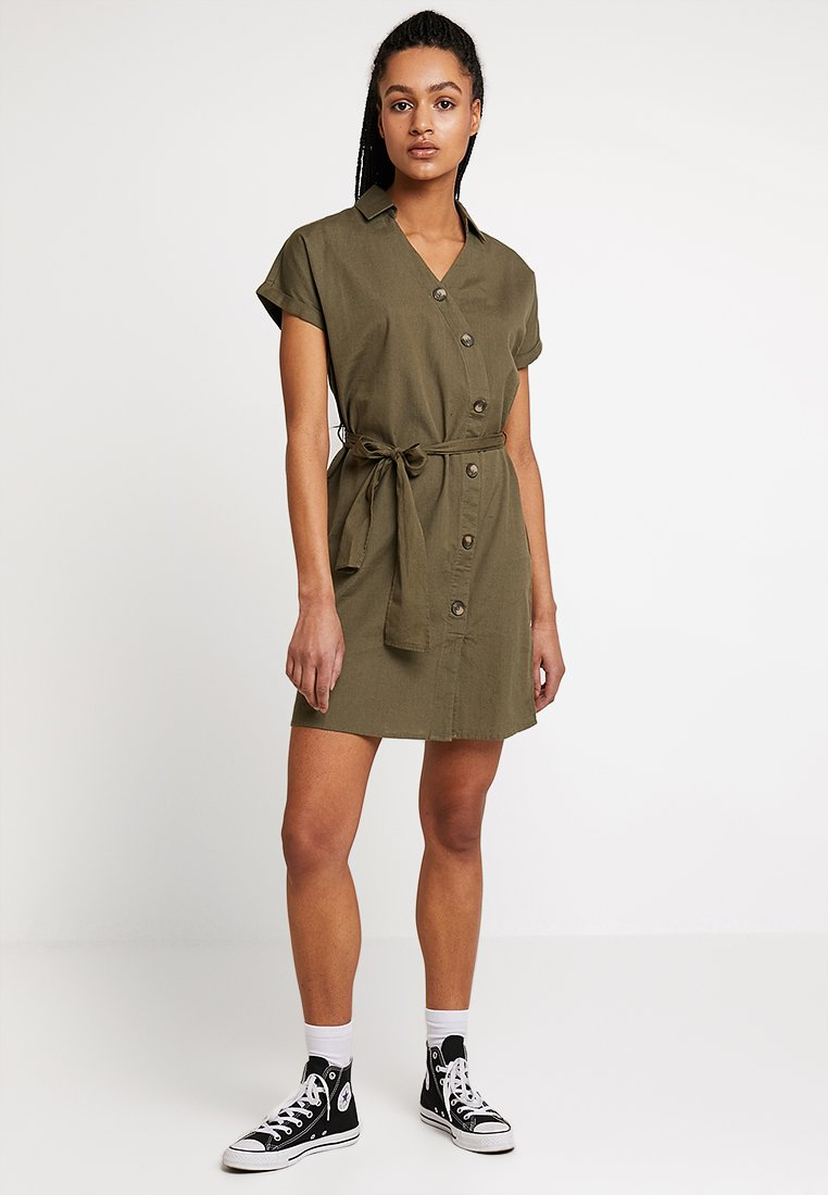 Noisy May - NMLINE BUTTONS DRESS  - Shirt dress - olive drab