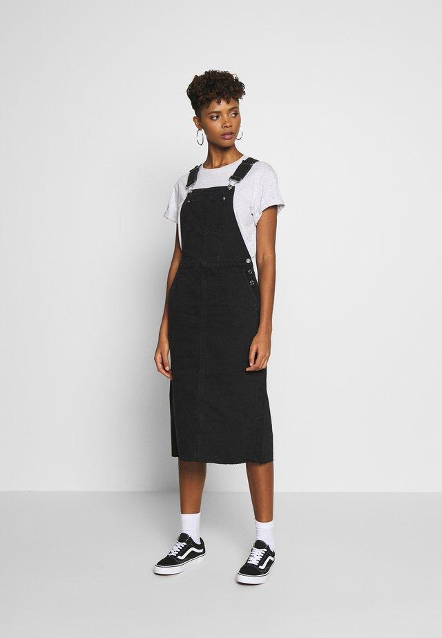NMSIA DUNGAREE DRESS - Day dress - black