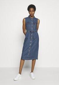 Noisy May - NMEZGI LONG DRESS - Day dress - medium blue denim - 1