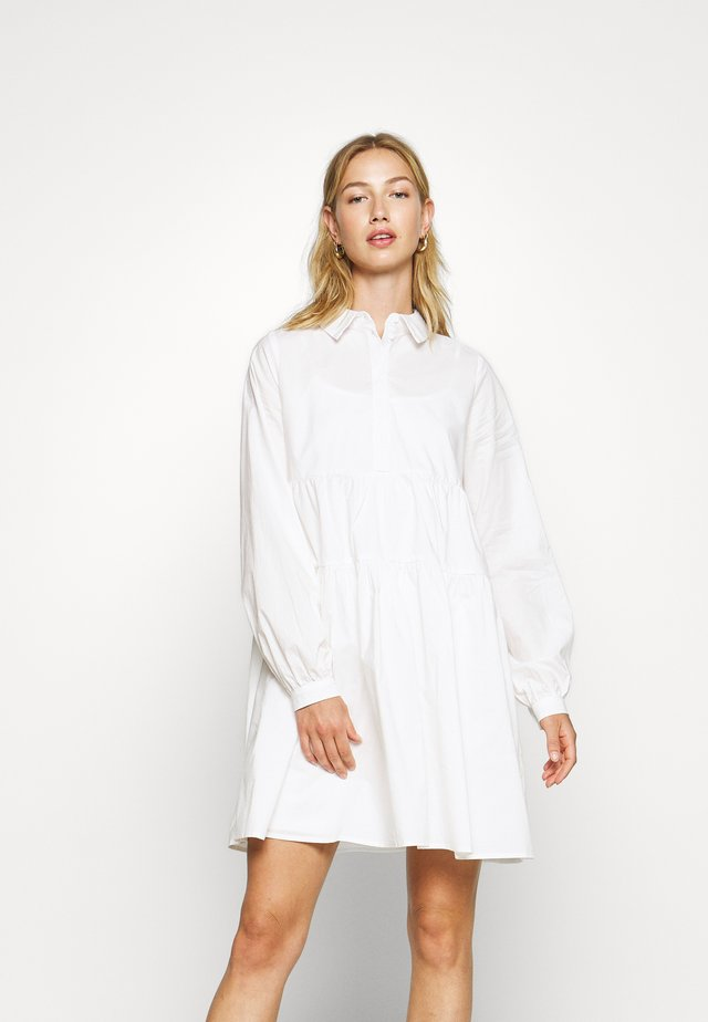 NMJULIE SHIRT POPLIN DRESS - Shirt dress - bright white