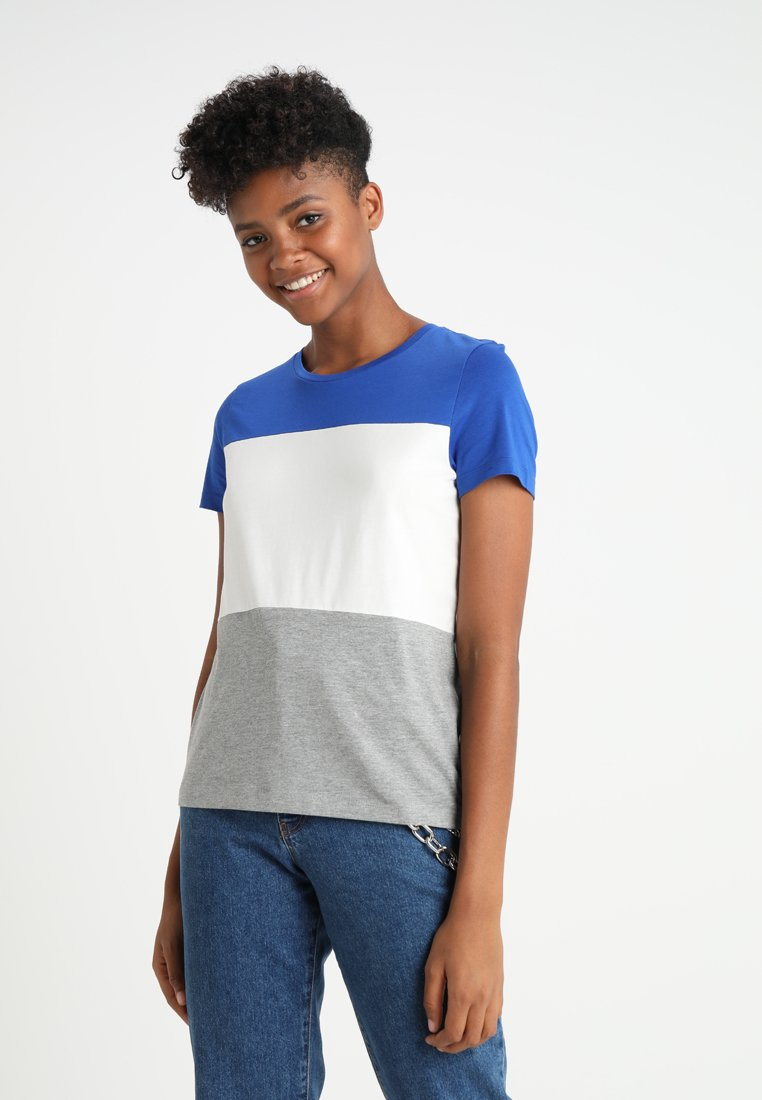 Noisy May - NMHAYDEN COLOR BLOCK  - Print T-shirt - surf the web/white