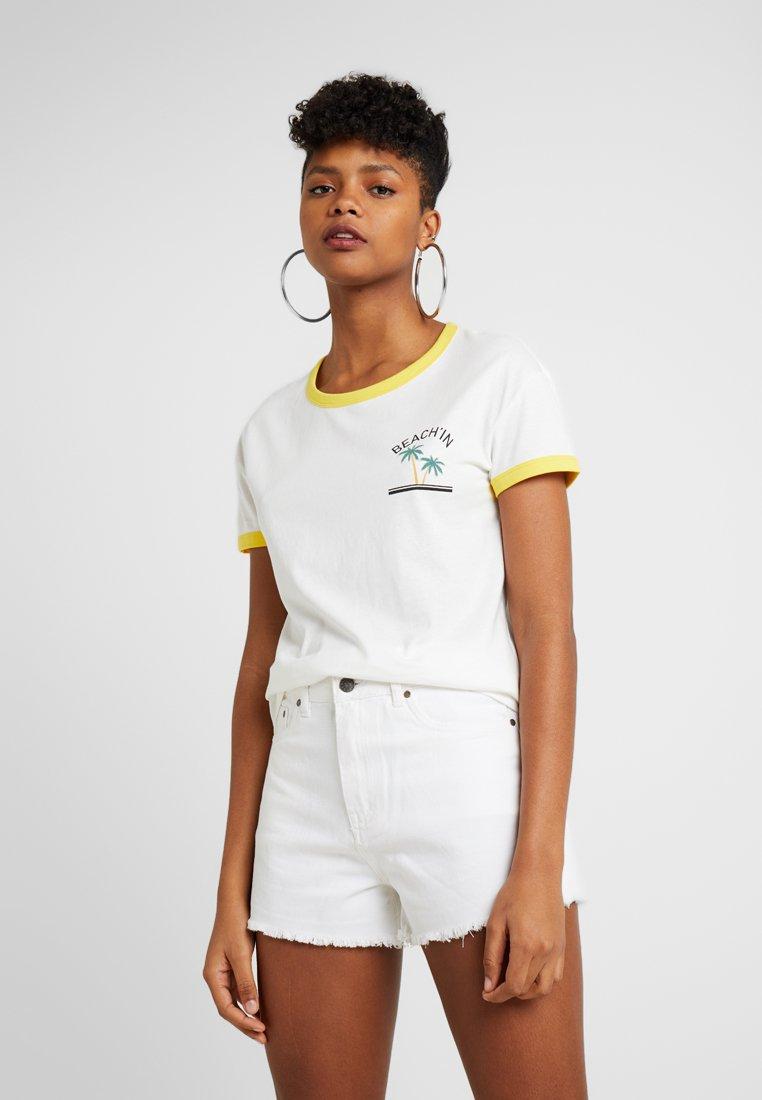 Noisy May - NMSIMA PALM BOX - T-Shirt print - bright white