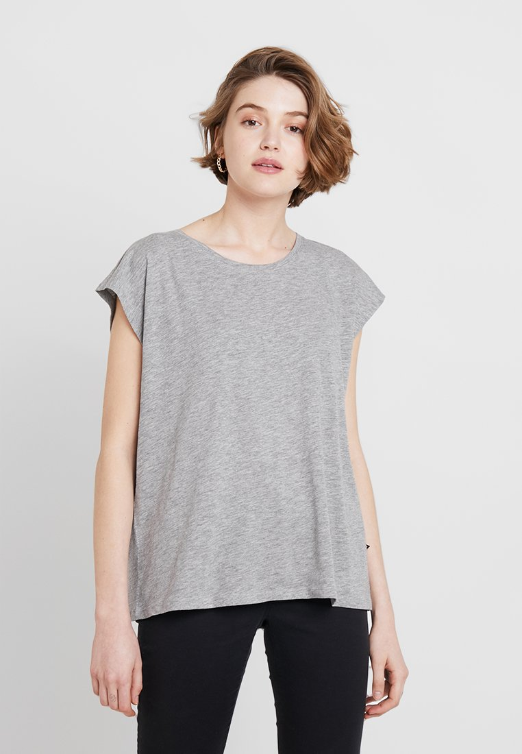 Noisy May - NMMATHILDE STRAIGHT HEM LOOSE - T-Shirt basic - light grey melange