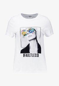 Noisy May - NMNATE FLOWER - T-shirts med print - bright white - 3