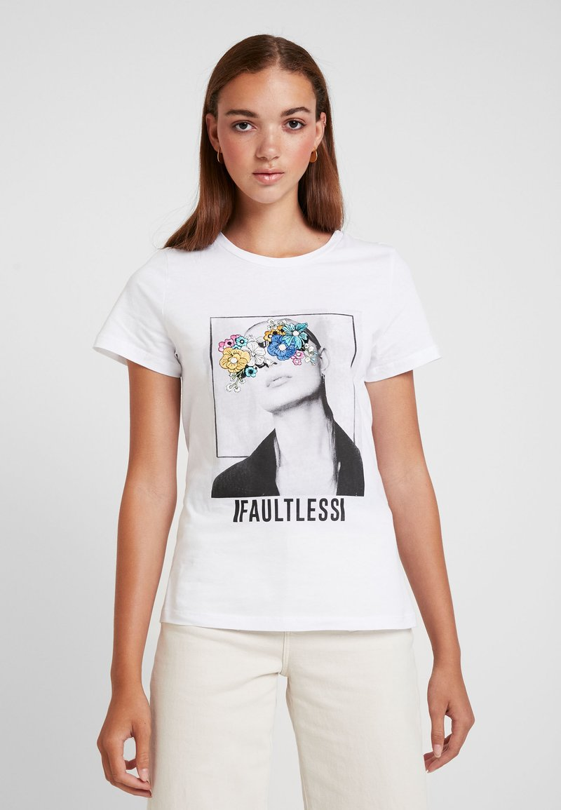 Noisy May - NMNATE FLOWER - T-shirts med print - bright white
