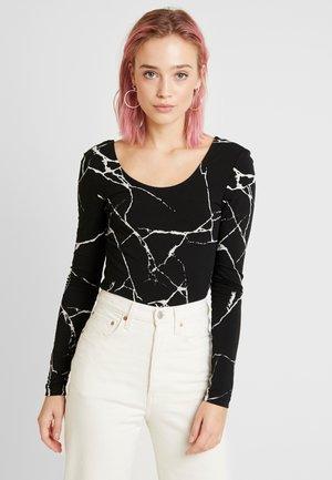 NMKERRY MARBLE BODYSTOCKING - Långärmad tröja - black/white