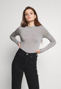 Noisy May - HIGHNECK TOP - Long sleeved top - light grey melange - 0