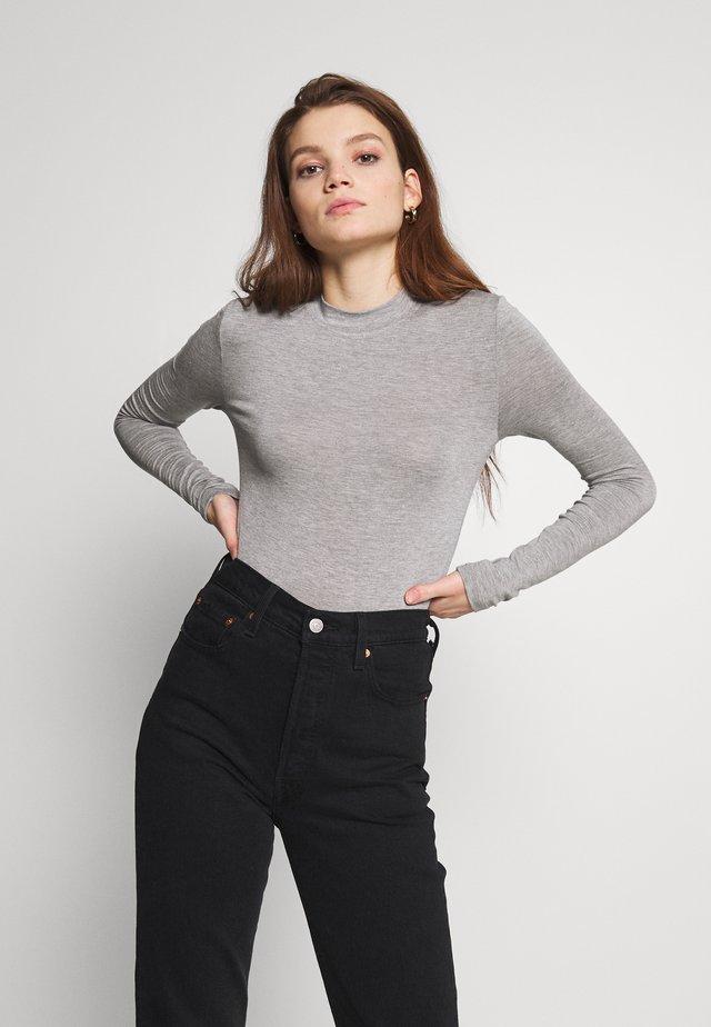HIGHNECK TOP - Long sleeved top - light grey melange