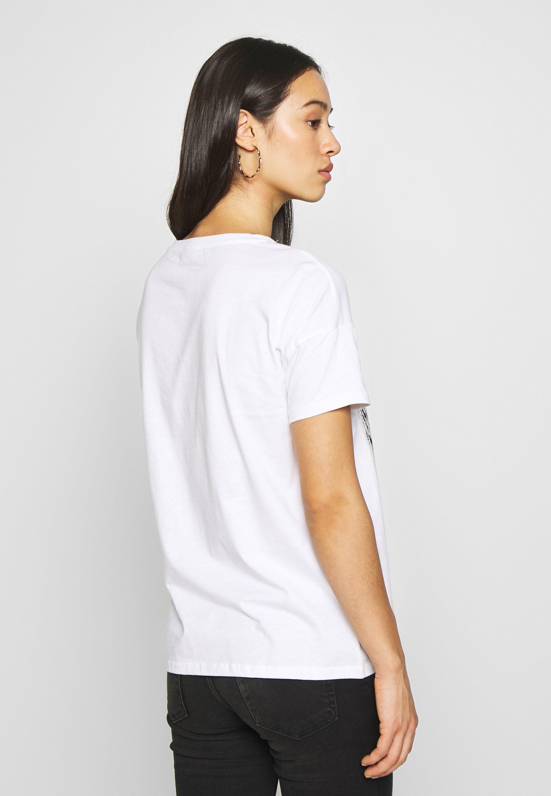 Noisy May NMCOMMAND BANANA TOP  - T-shirts med print - bright white