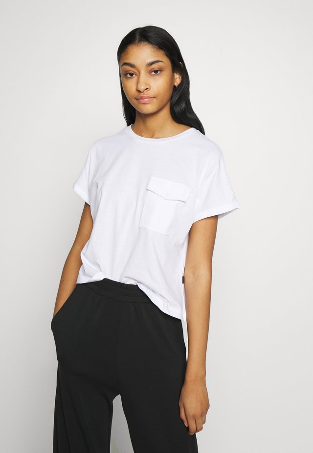 NMDENNY POCKET - T-shirt basic - bright white