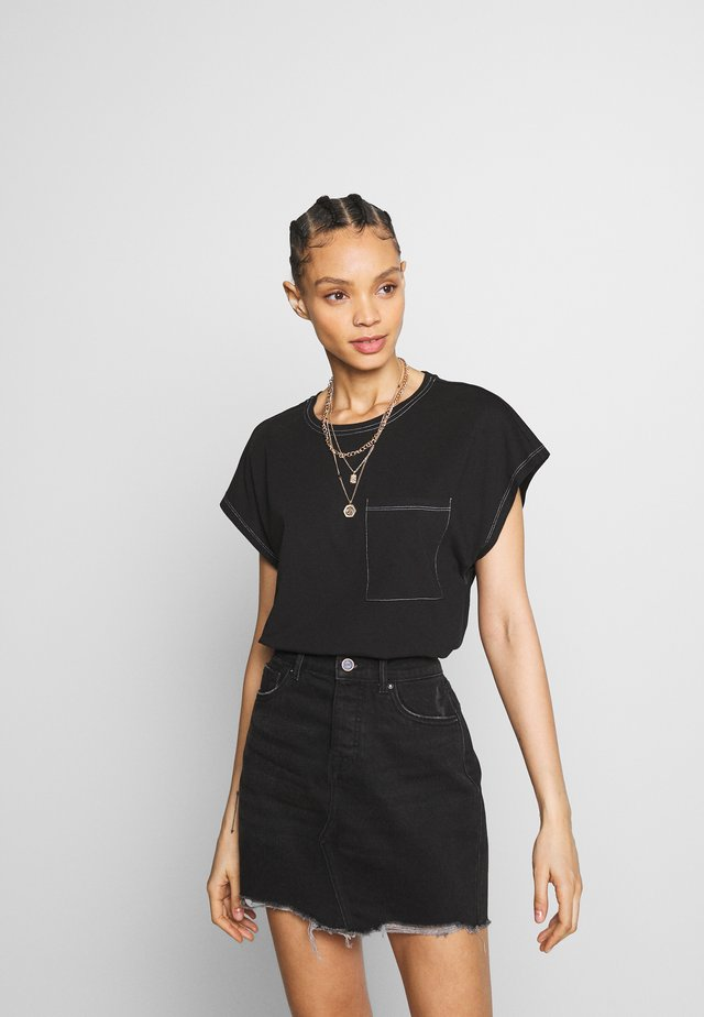 NMCONNIE CONTRAST STITCH - T-shirt basic - black