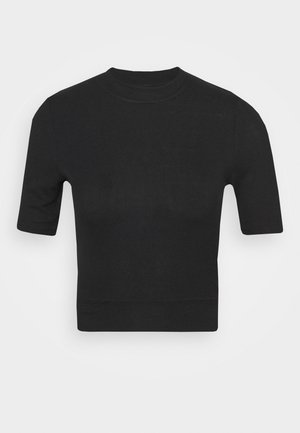 NMHENLEY SLEEVE CROPPED - T-shirts - black