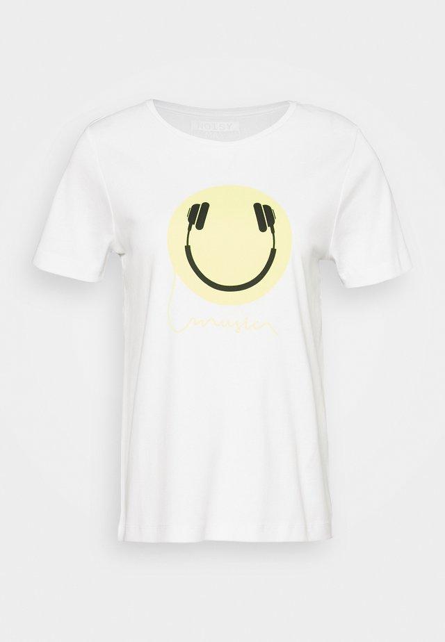 NMSAGA NATE  - Print T-shirt - bright white/headphone