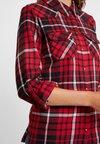 Noisy May - NMERIK LONG SLEEVE  - Button-down blouse - black/flame scarlet/white