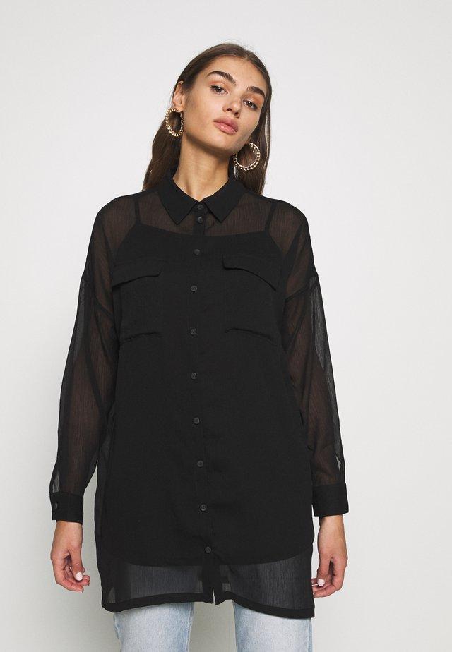 NMNENO NEW LONG SHIRT - Button-down blouse - black