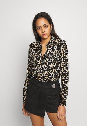 NMKEKE ZALA - Button-down blouse - black/tortoiselle