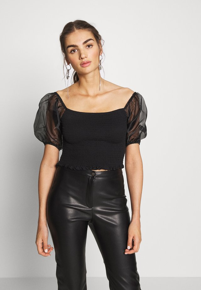 NMPURE PUFF SMOCK - T-shirt med print - black