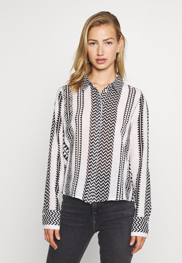 NMAZRA - Button-down blouse - black/white