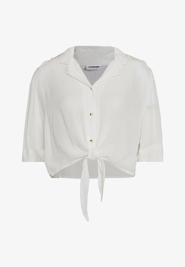 NMALBERTE CROPPED TIE - Skjorta - bright white