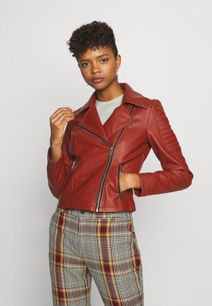 NMREBEL JACKET - Faux leather jacket - burnt henna