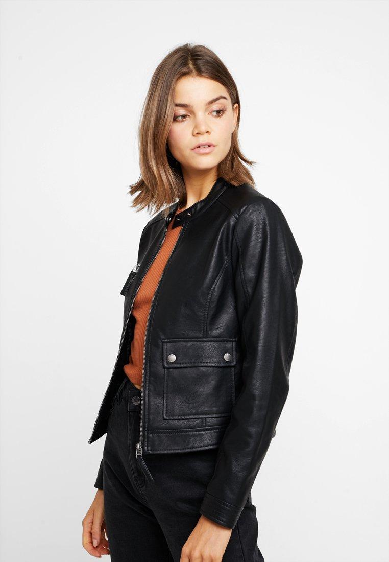 Noisy May - NMMORE JACKET - Faux leather jacket - black