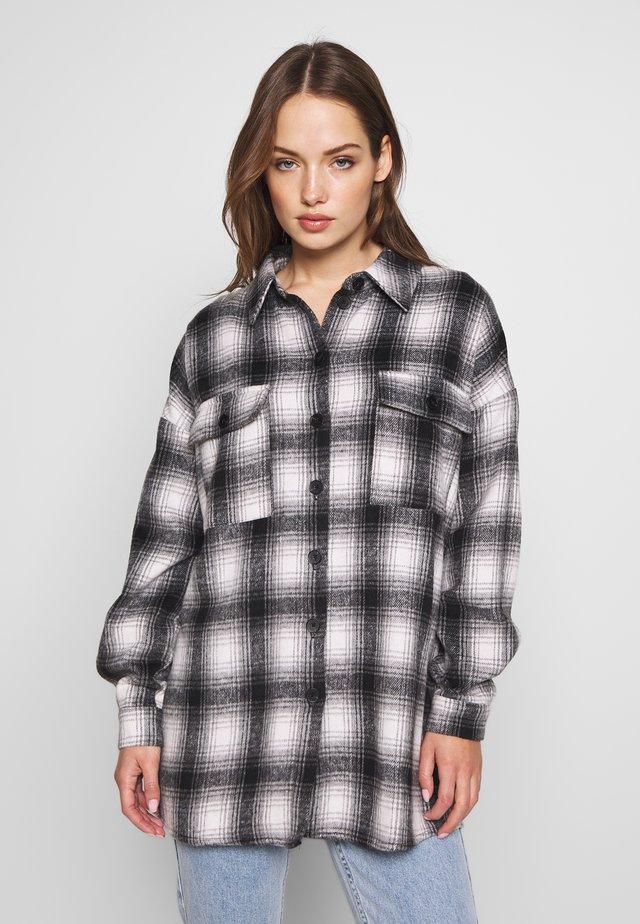 NMFLANNY CHECK  - Skjorta - black/with/grey