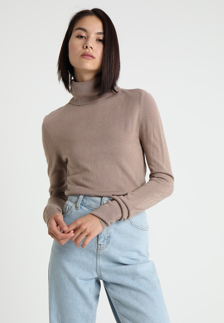 Noisy May - NMCHEN HIGH NECK - Strickpullover - taupe gray