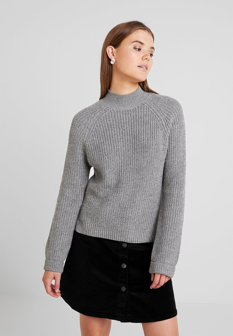 Noisy May - NMSIESTA HIGH NECK CROPPED - Svetr - medium grey melange