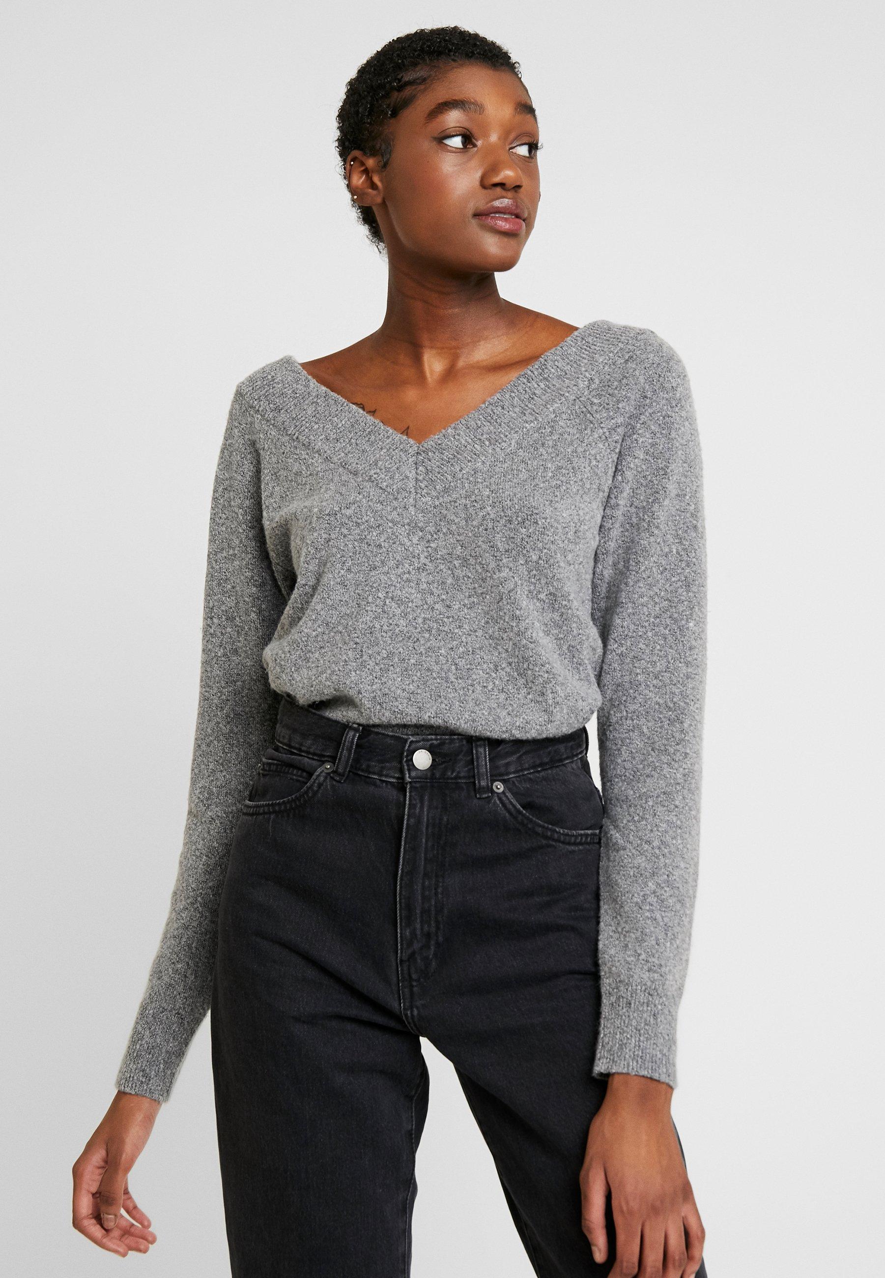 Noisy May Sweter - medium grey melange