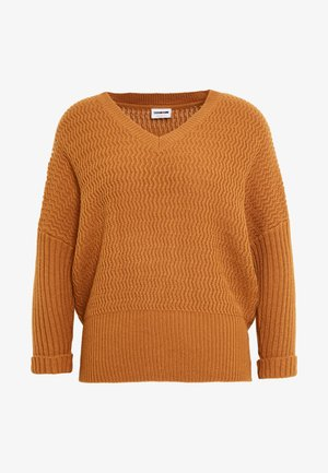 NMMETTE 3/4 V-NECK  - Jumper - brown sugar