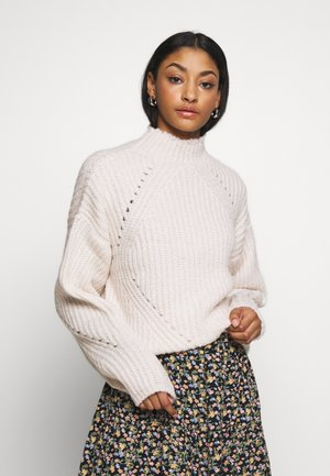 NMCRISTIN HIGH NECK - Jumper - ecru
