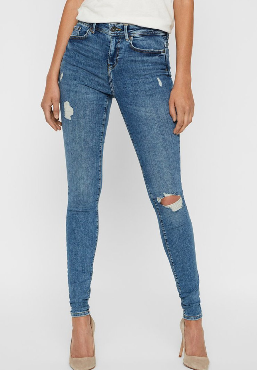 Noisy May Jeansy Skinny Fit - medium blue denim
