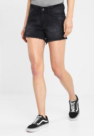 NMFRAN RAW EDGE  - Denim shorts - black