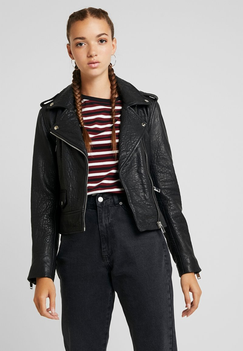 Noisy May - Veste en cuir - black