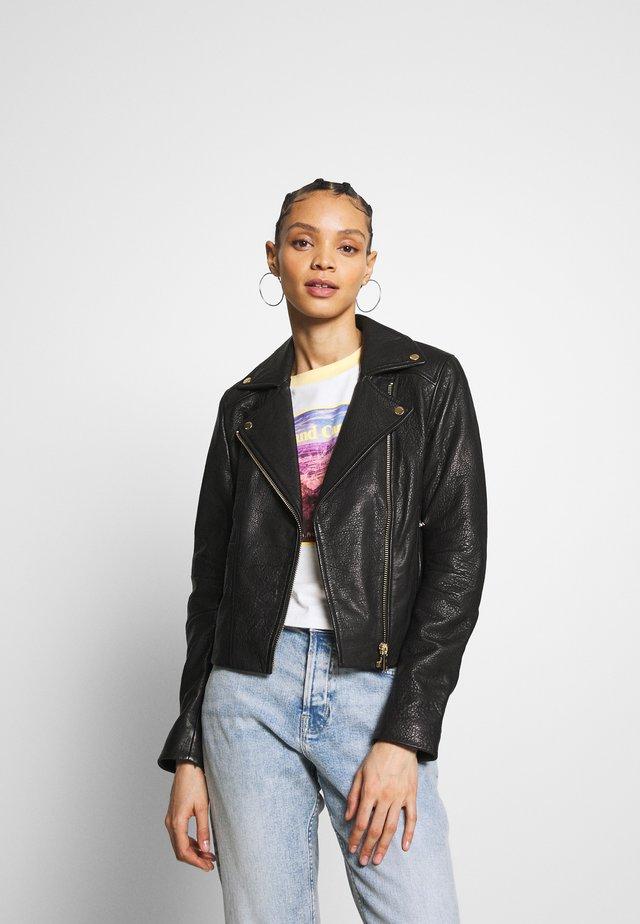 NMDORA JACKET - Leather jacket - black